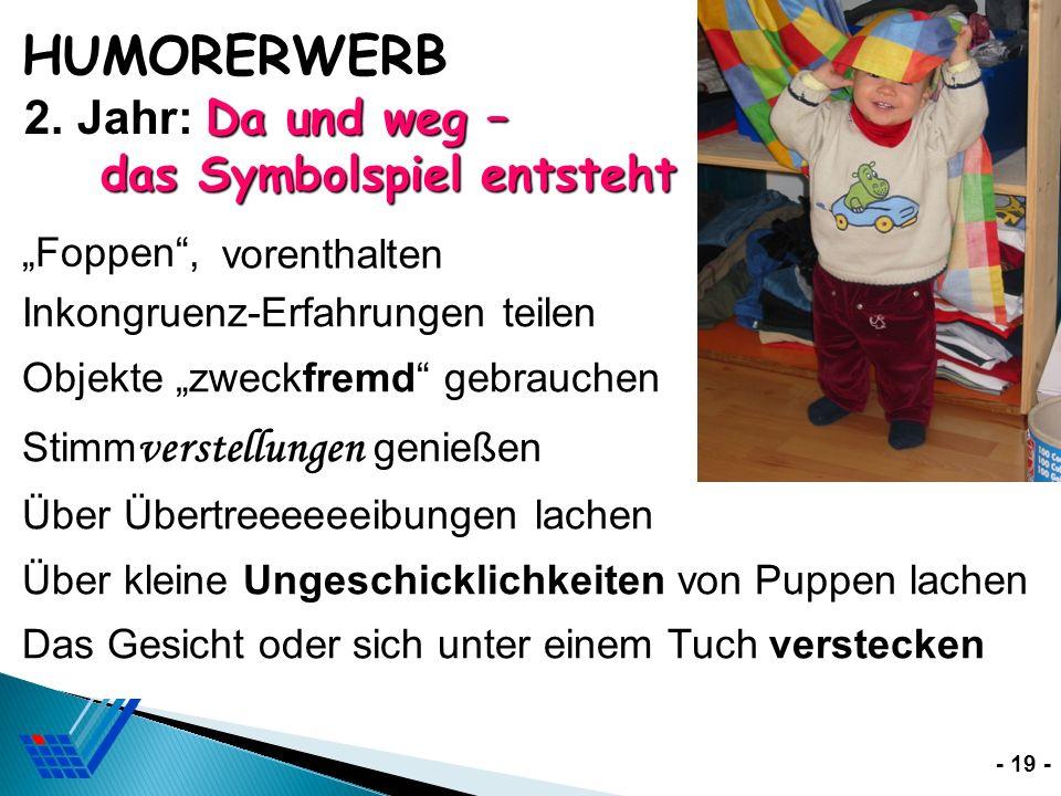 """HUMORERWERB 2. Jahr: Da und weg – das Symbolspiel entsteht """"Foppen ,"""