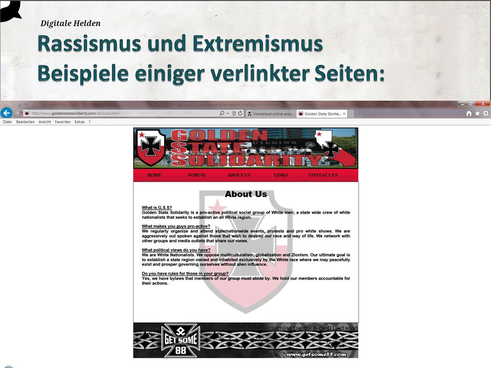 Rassismus und Extremismus Beispiele einiger verlinkter Seiten:
