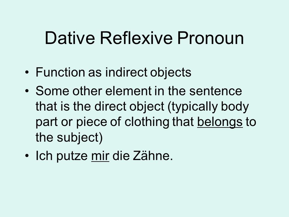 Dative Reflexive Pronoun