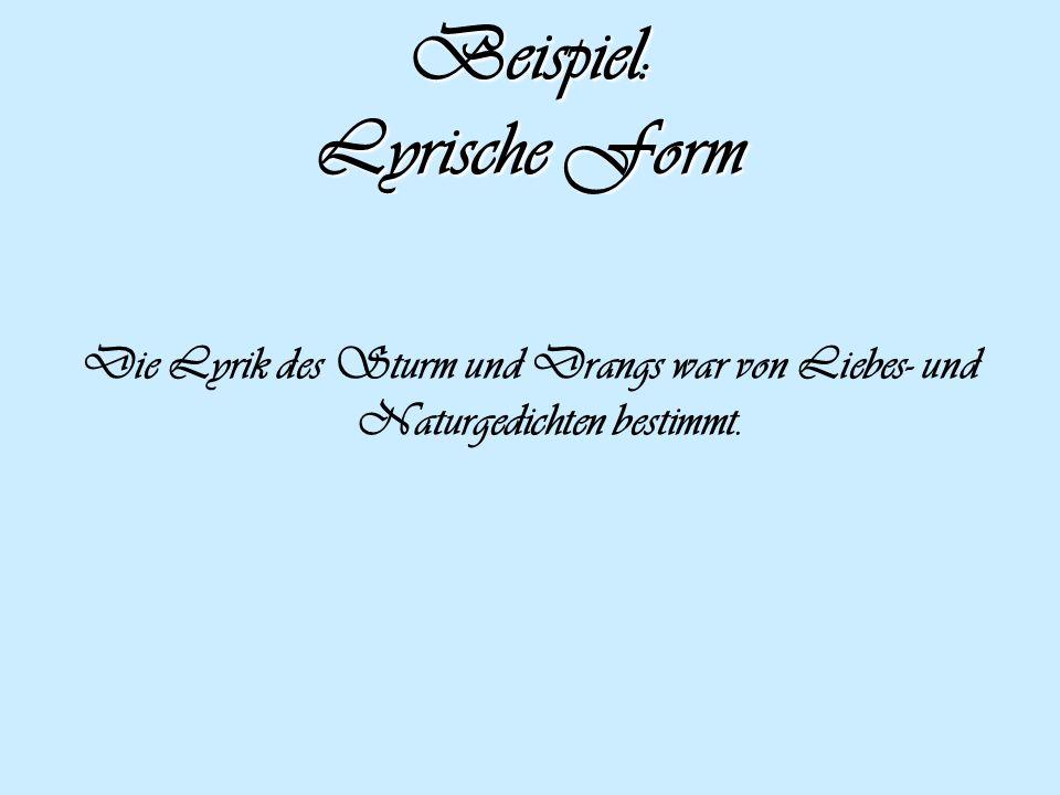 Beispiel: Lyrische Form