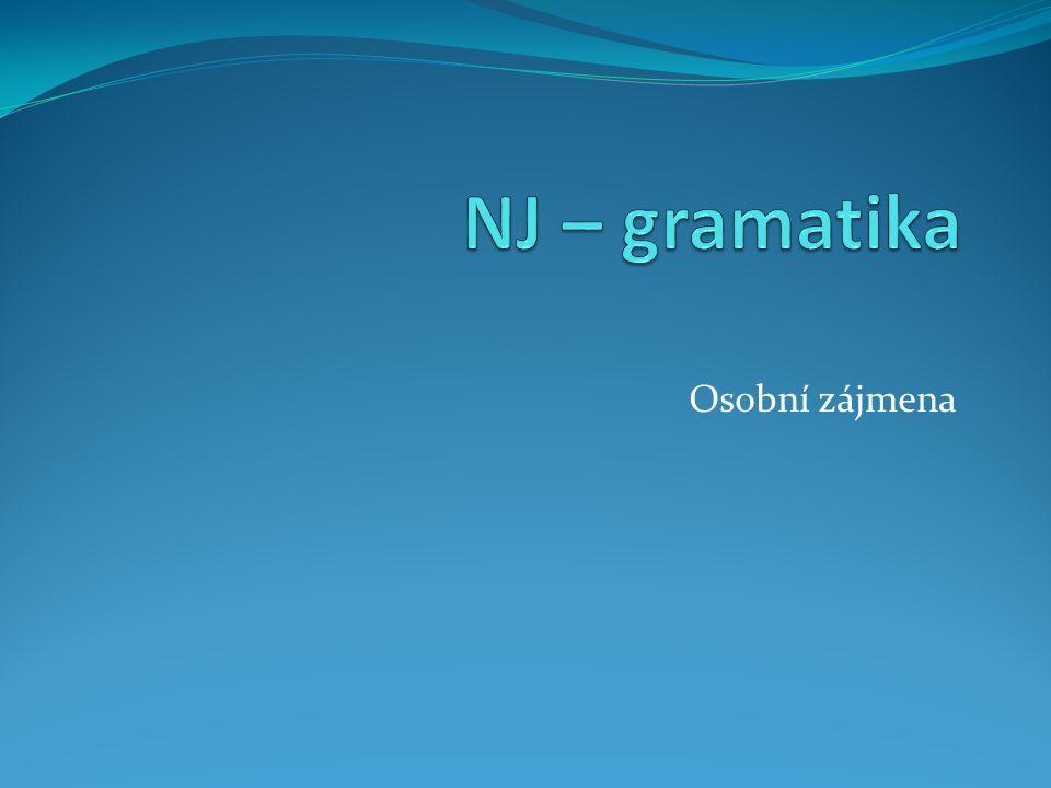 NJ – gramatika Osobní zájmena