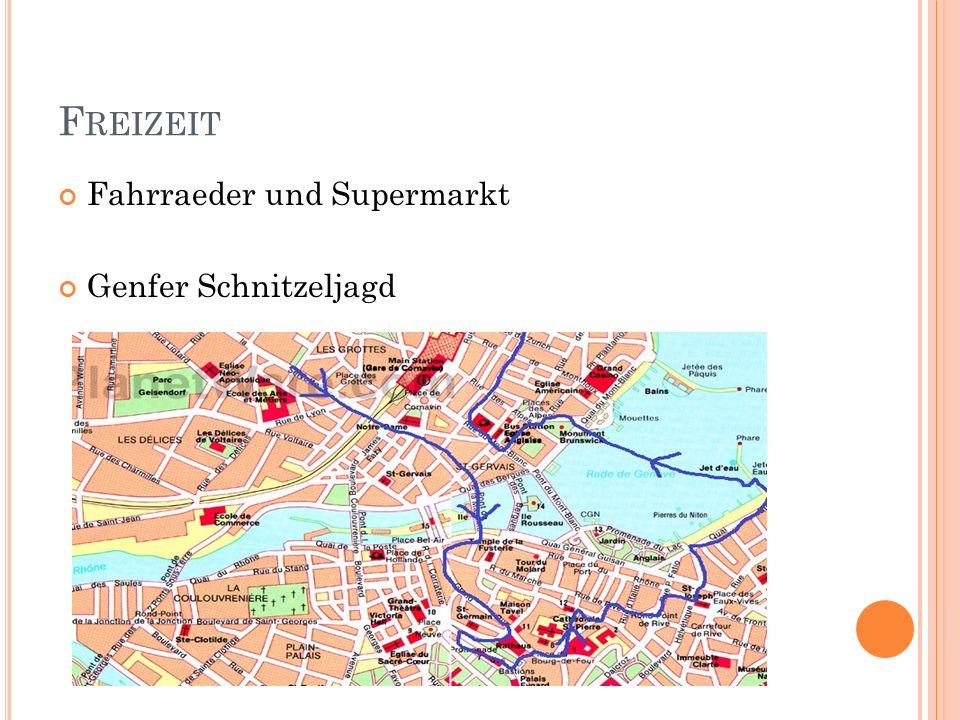 Freizeit Fahrraeder und Supermarkt Genfer Schnitzeljagd
