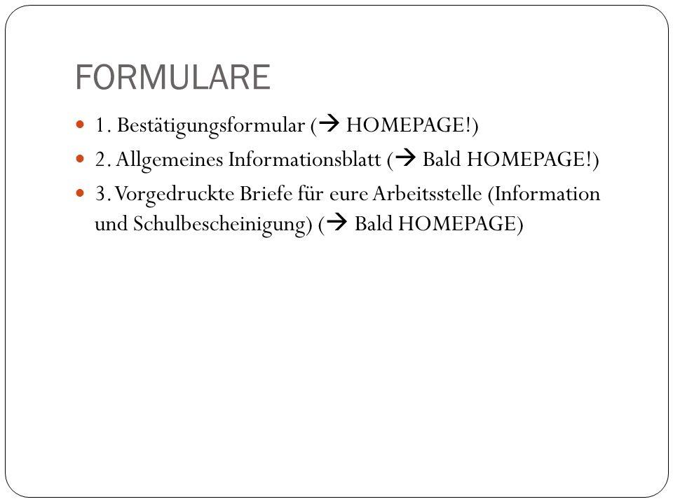 FORMULARE 1. Bestätigungsformular ( HOMEPAGE!)