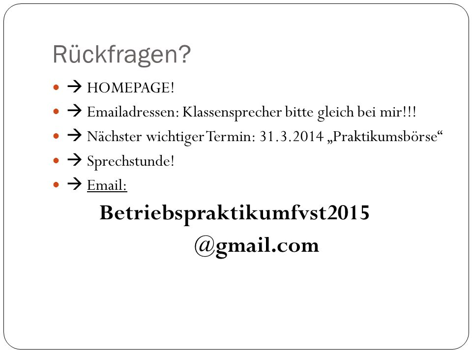 Rückfragen @gmail.com  HOMEPAGE!