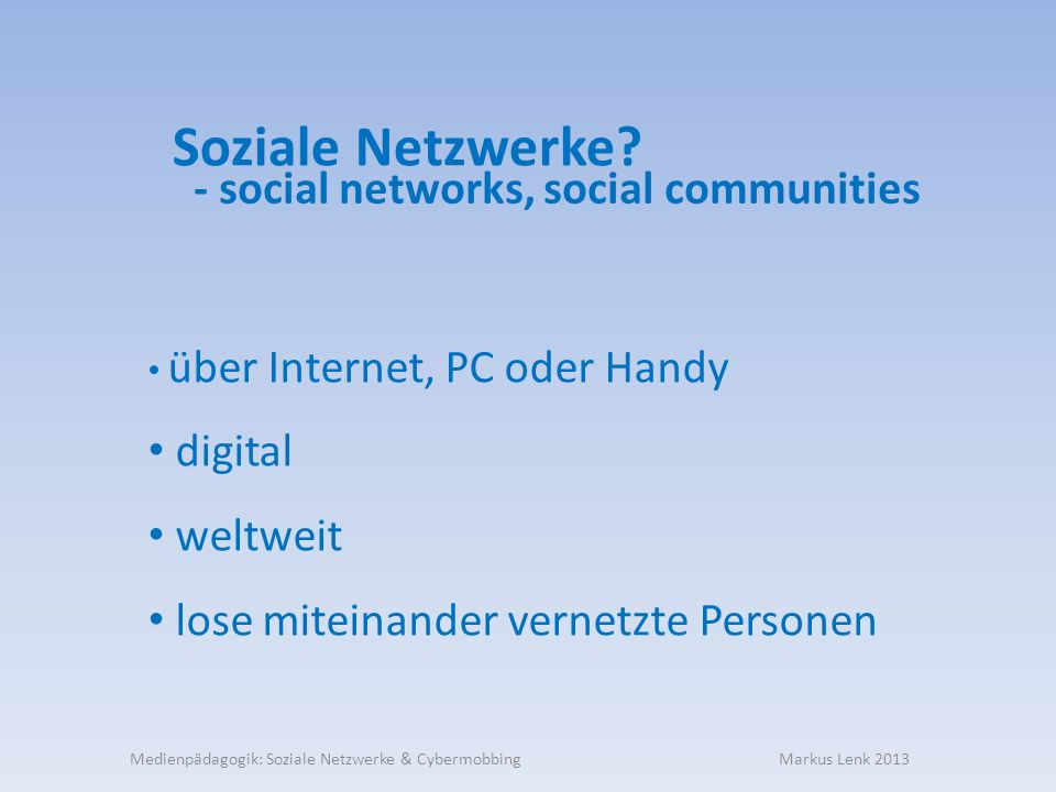 - social networks, social communities
