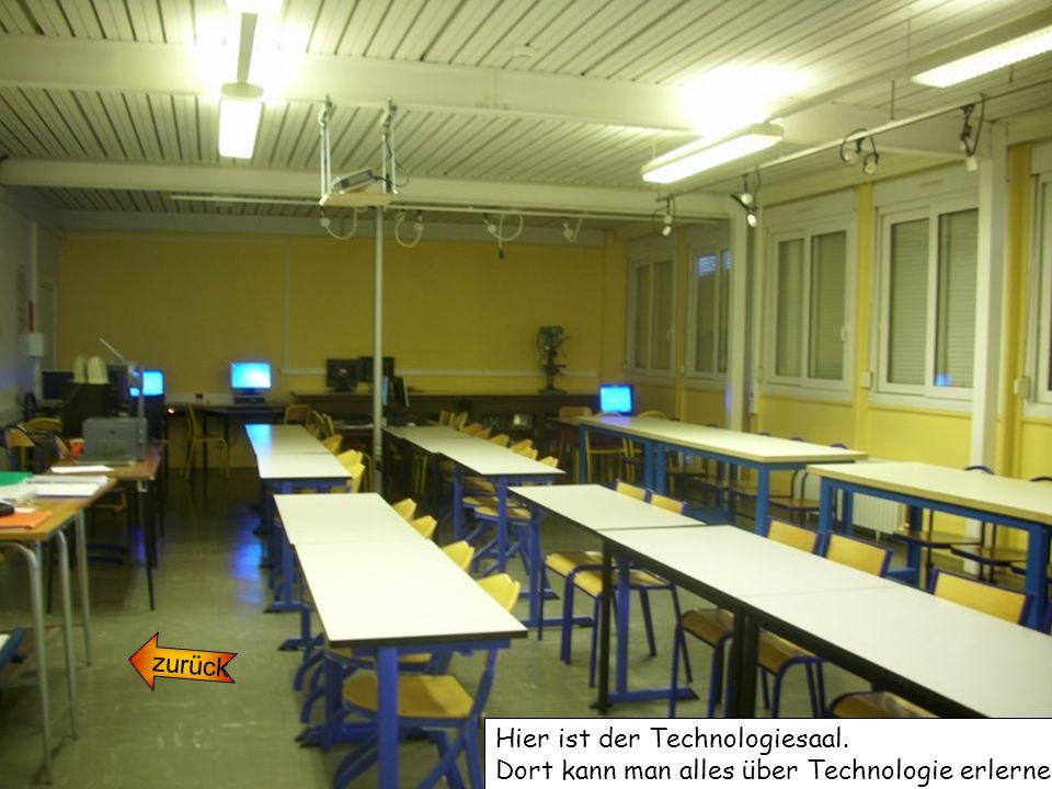 . zurück Hier ist der Technologiesaal. Dort kann man alles über Technologie erlernen.
