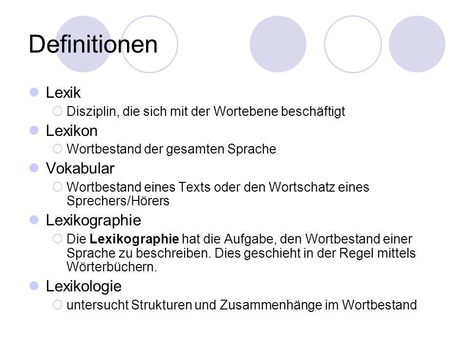 Definitionen Lexik Lexikon Vokabular Lexikographie Lexikologie