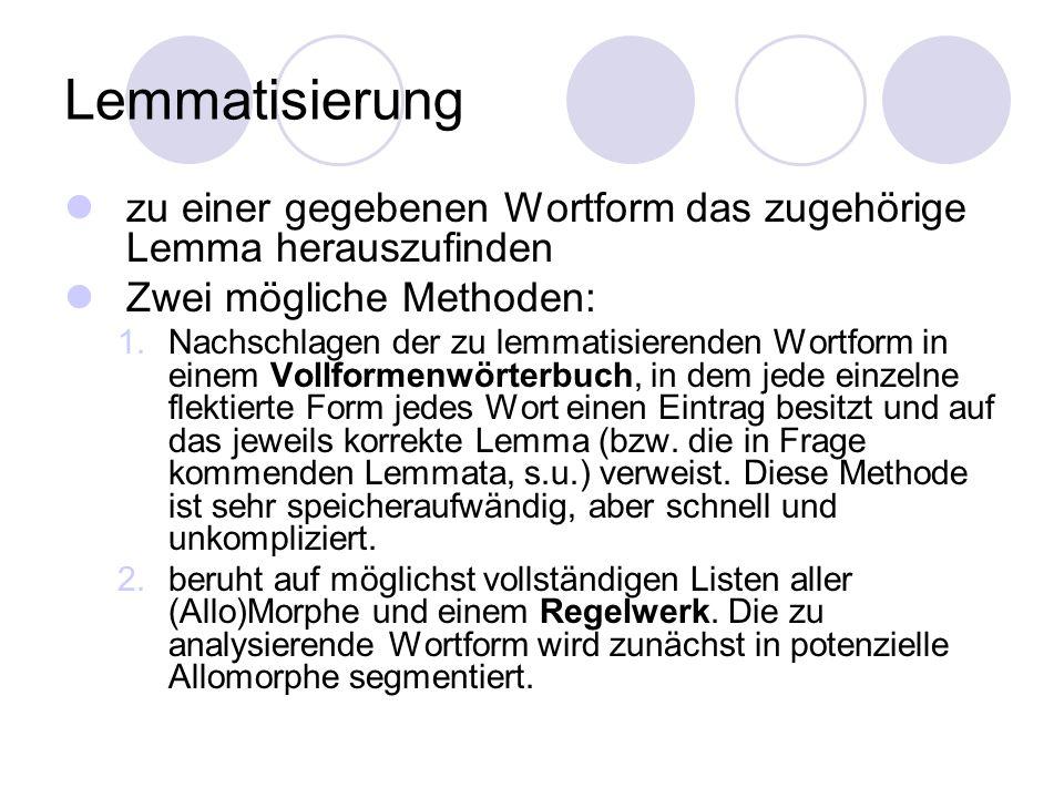 Lemmatisierung zu einer gegebenen Wortform das zugehörige Lemma herauszufinden. Zwei mögliche Methoden: