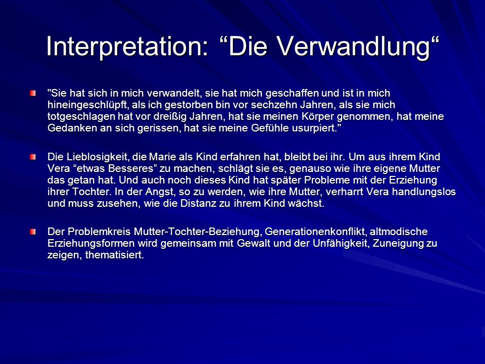 Interpretation: Die Verwandlung