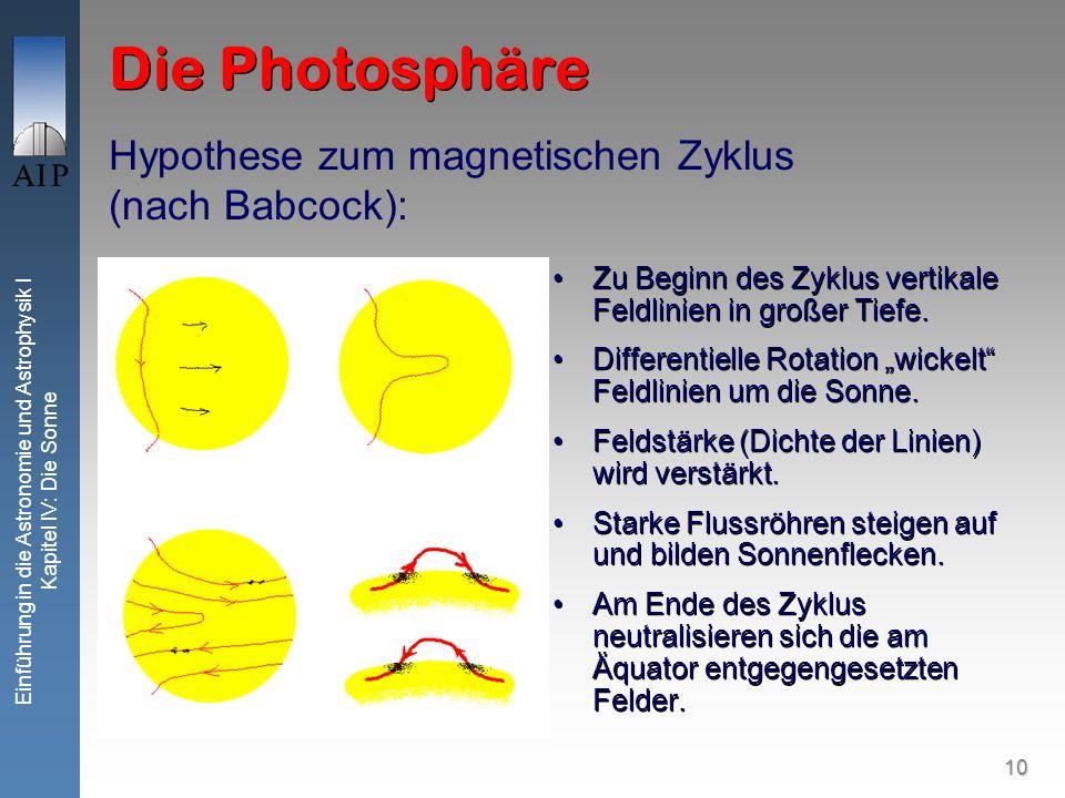 Die Photosphäre Hypothese zum magnetischen Zyklus (nach Babcock):