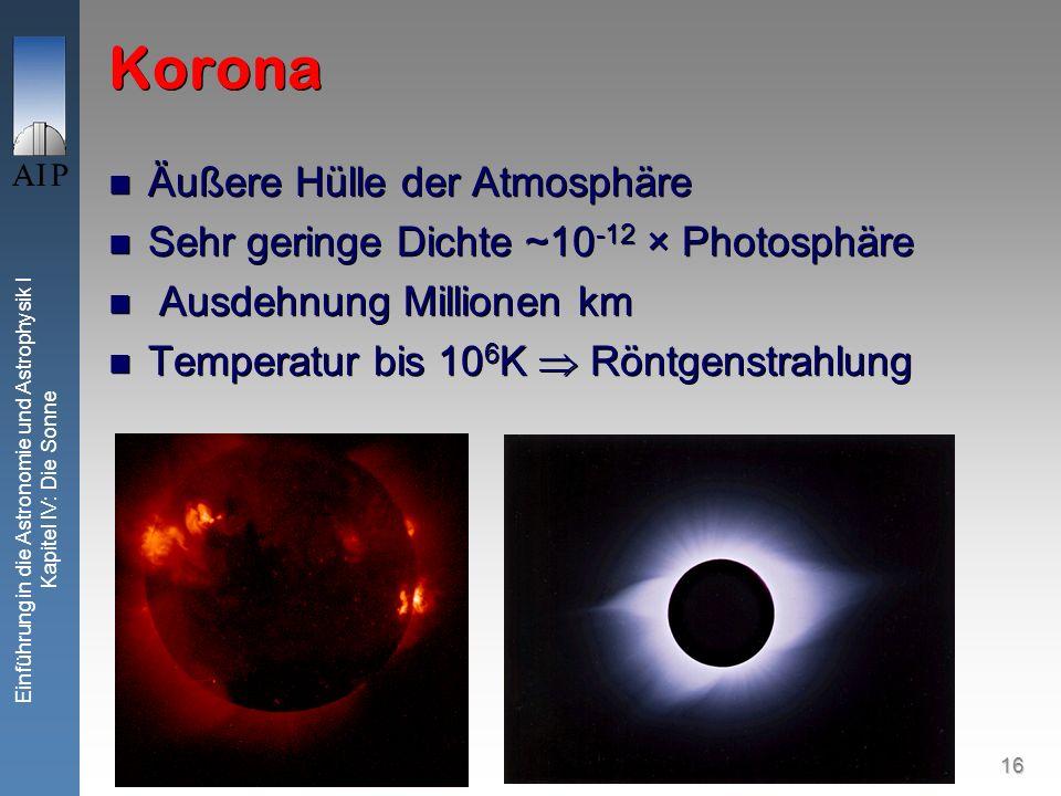 Korona Äußere Hülle der Atmosphäre