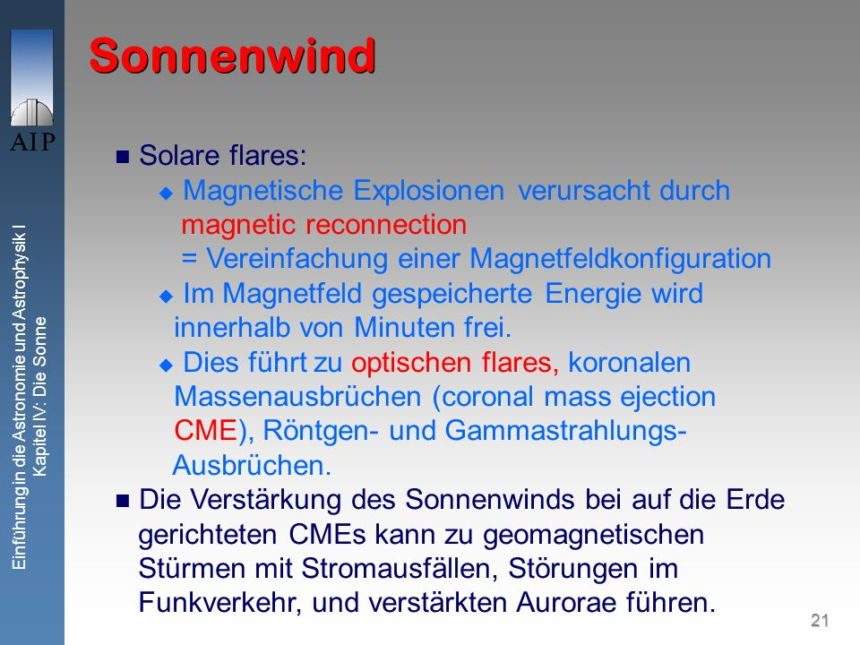 Sonnenwind Solare flares: