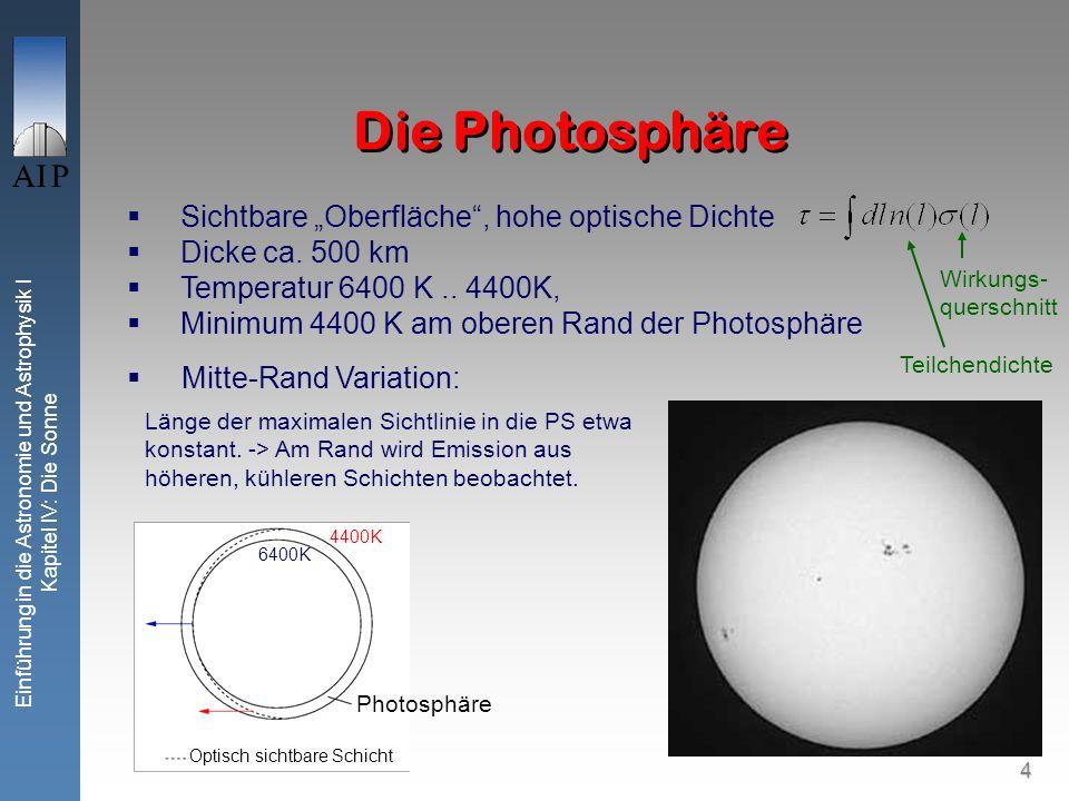 """Die Photosphäre Sichtbare """"Oberfläche , hohe optische Dichte"""
