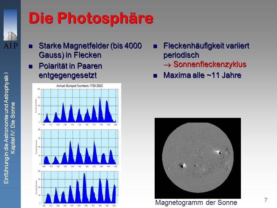Die Photosphäre Starke Magnetfelder (bis 4000 Gauss) in Flecken