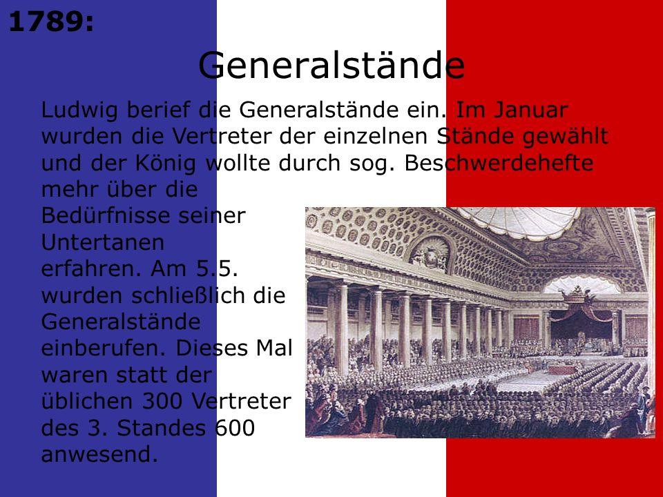 1789: Generalstände.