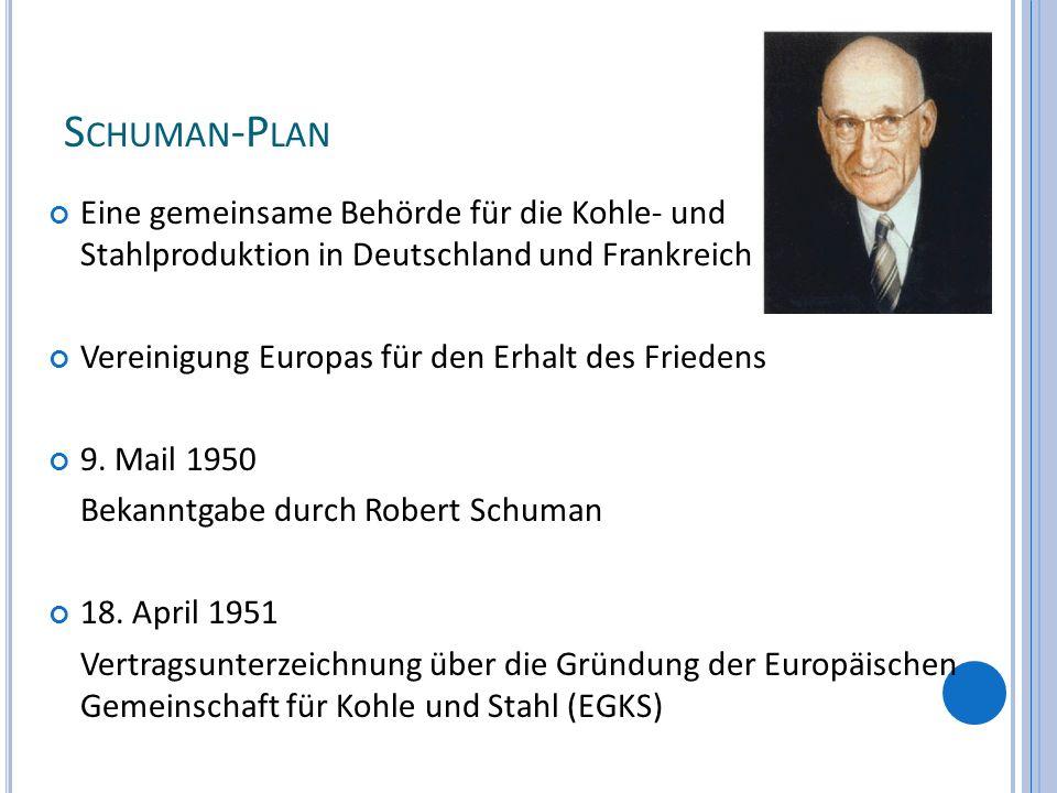 Schuman-Plan Eine gemeinsame Behörde für die Kohle- und Stahlproduktion in Deutschland und Frankreich.