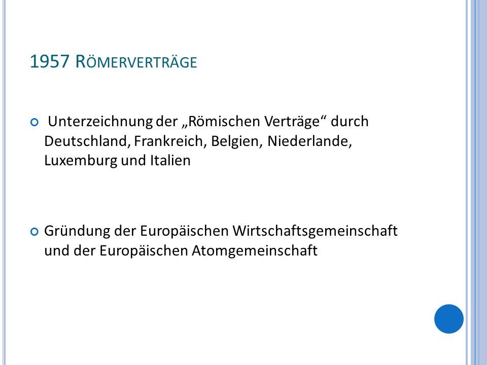"""1957 Römerverträge Unterzeichnung der """"Römischen Verträge durch Deutschland, Frankreich, Belgien, Niederlande, Luxemburg und Italien."""