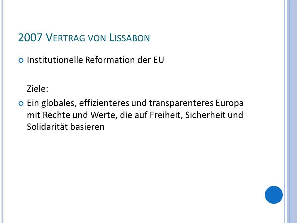 2007 Vertrag von Lissabon Institutionelle Reformation der EU Ziele:
