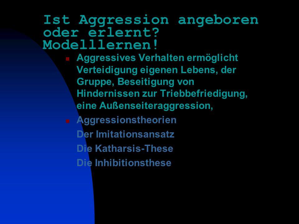 Ist Aggression angeboren oder erlernt Modelllernen!