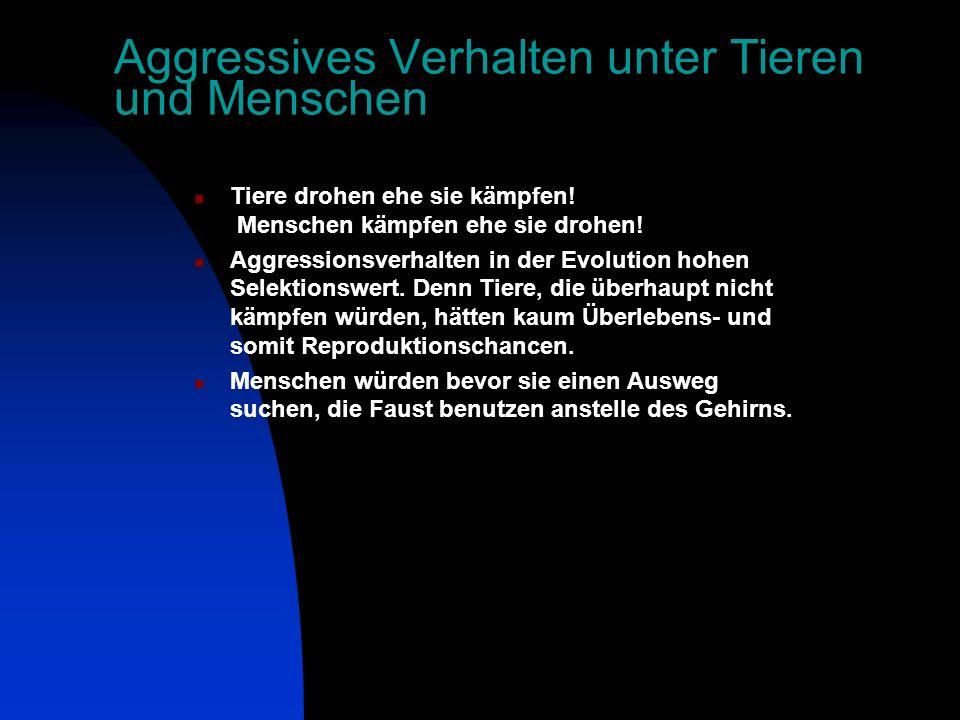 Aggressives Verhalten unter Tieren und Menschen