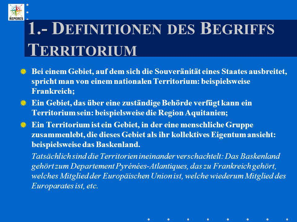 1.- Definitionen des Begriffs Territorium