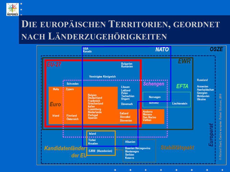 Die europäischen Territorien, geordnet nach Länderzugehörigkeiten