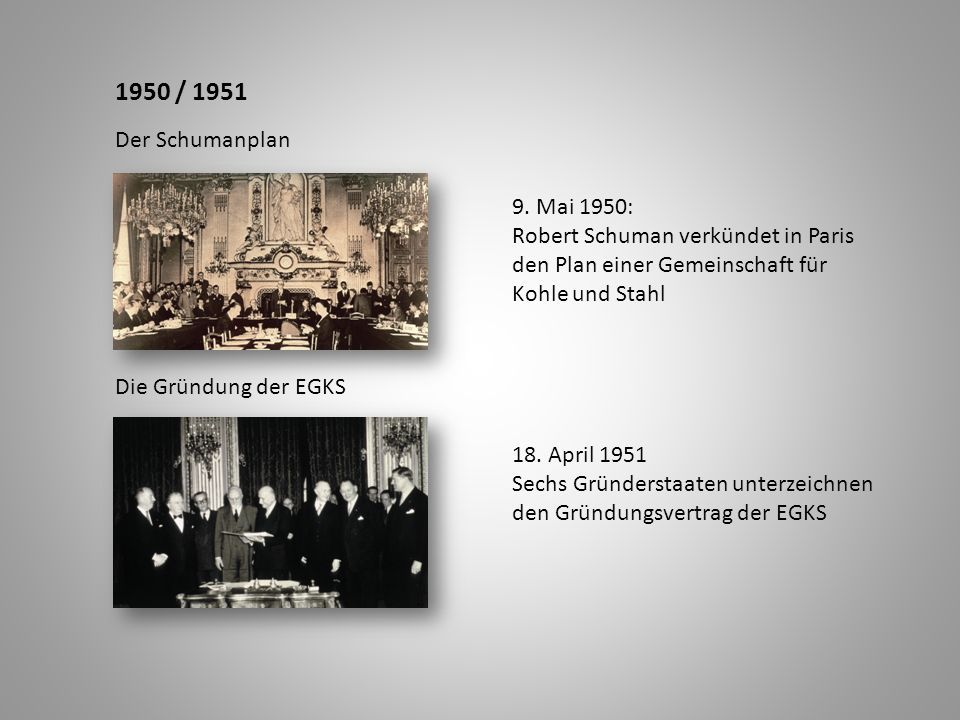 1950 / 1951 Der Schumanplan. 9. Mai 1950: Robert Schuman verkündet in Paris. den Plan einer Gemeinschaft für Kohle und Stahl.