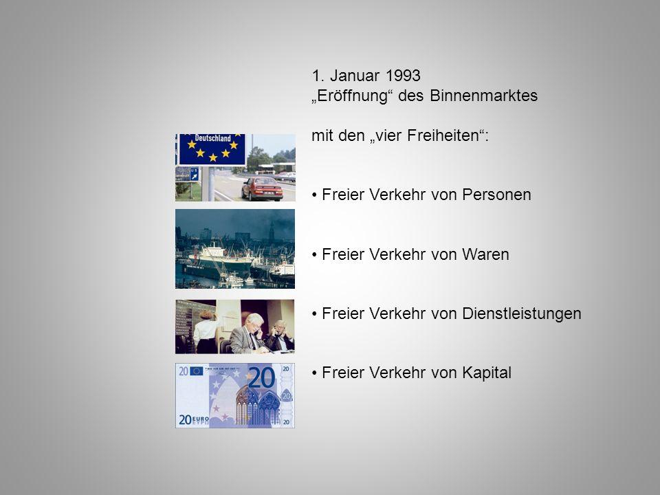 """1. Januar 1993 """"Eröffnung des Binnenmarktes. mit den """"vier Freiheiten : • Freier Verkehr von Personen."""