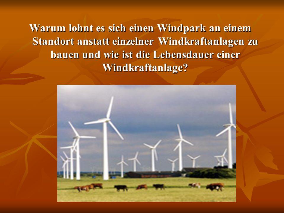 Warum lohnt es sich einen Windpark an einem Standort anstatt einzelner Windkraftanlagen zu bauen und wie ist die Lebensdauer einer Windkraftanlage