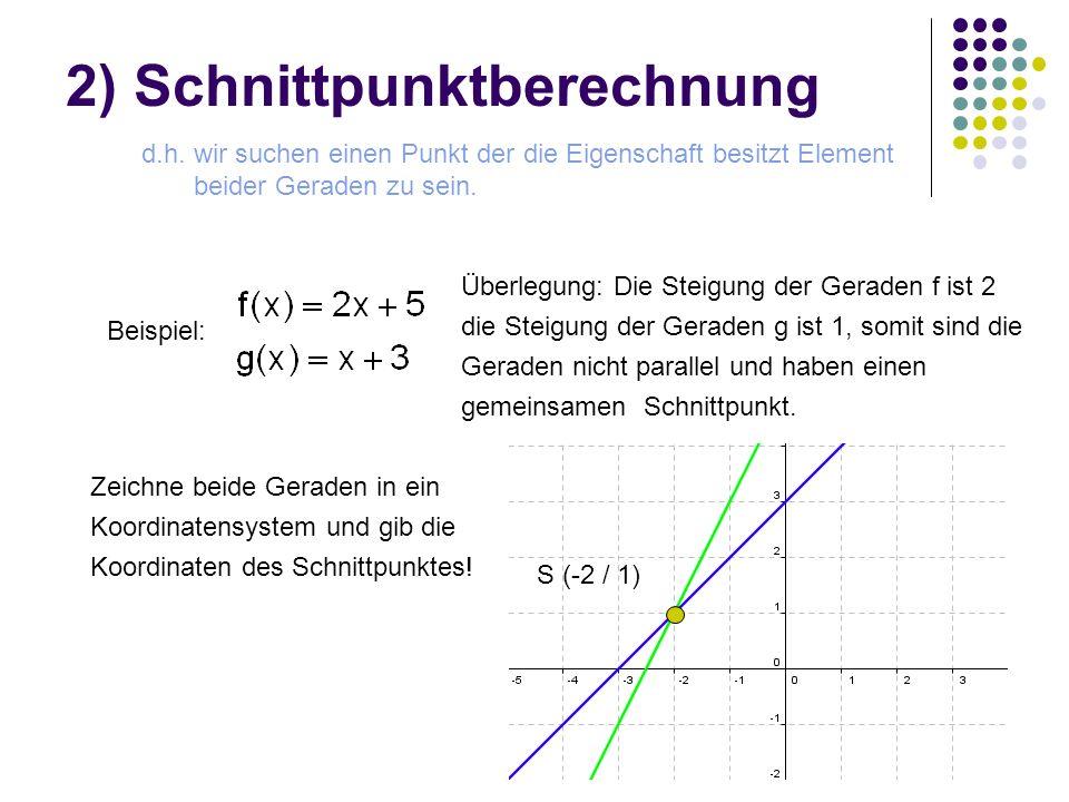 2) Schnittpunktberechnung