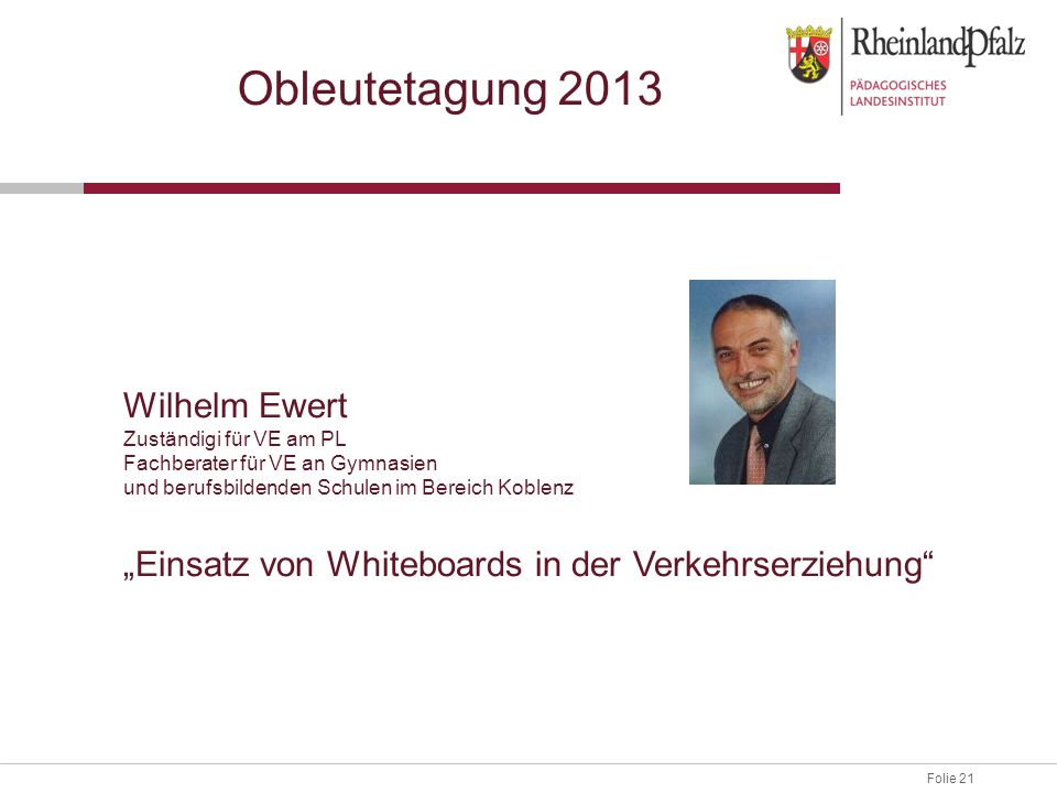 Obleutetagung 2013 Wilhelm Ewert