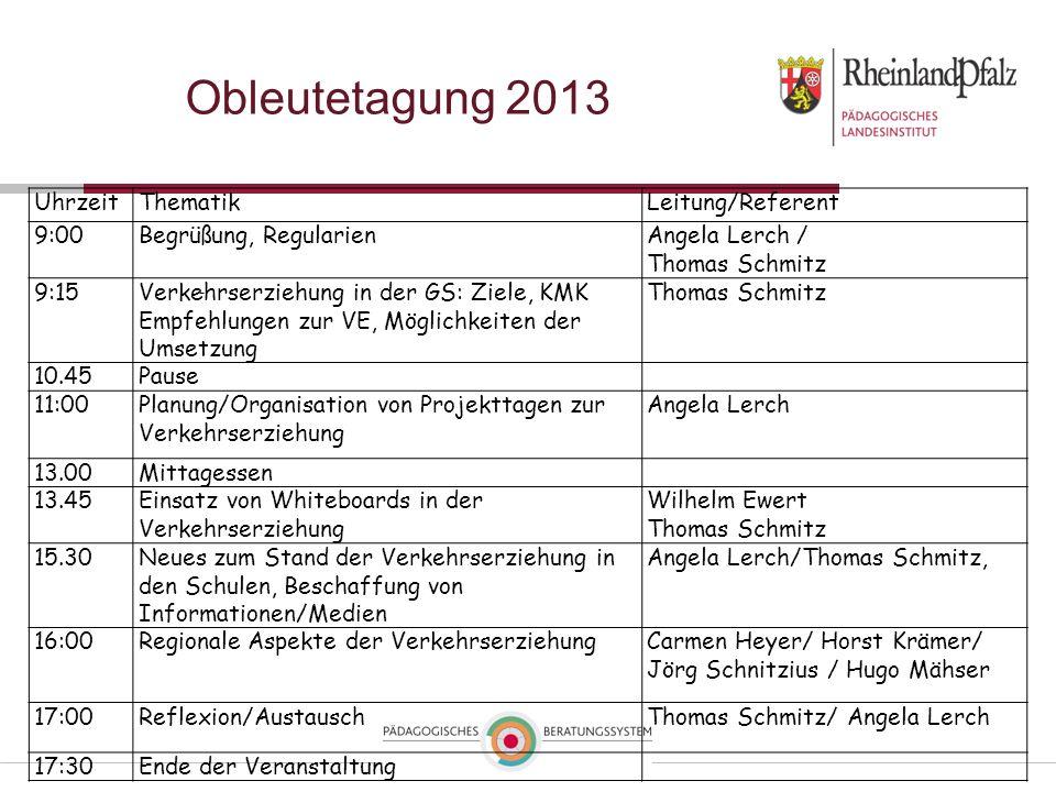 Obleutetagung 2013 Uhrzeit Thematik Leitung/Referent 9:00