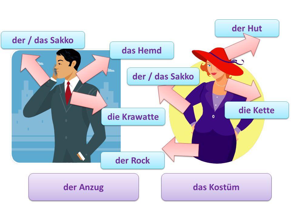 der Hut der / das Sakko. das Hemd. der / das Sakko. die Kette. die Krawatte. der Rock. der Anzug.