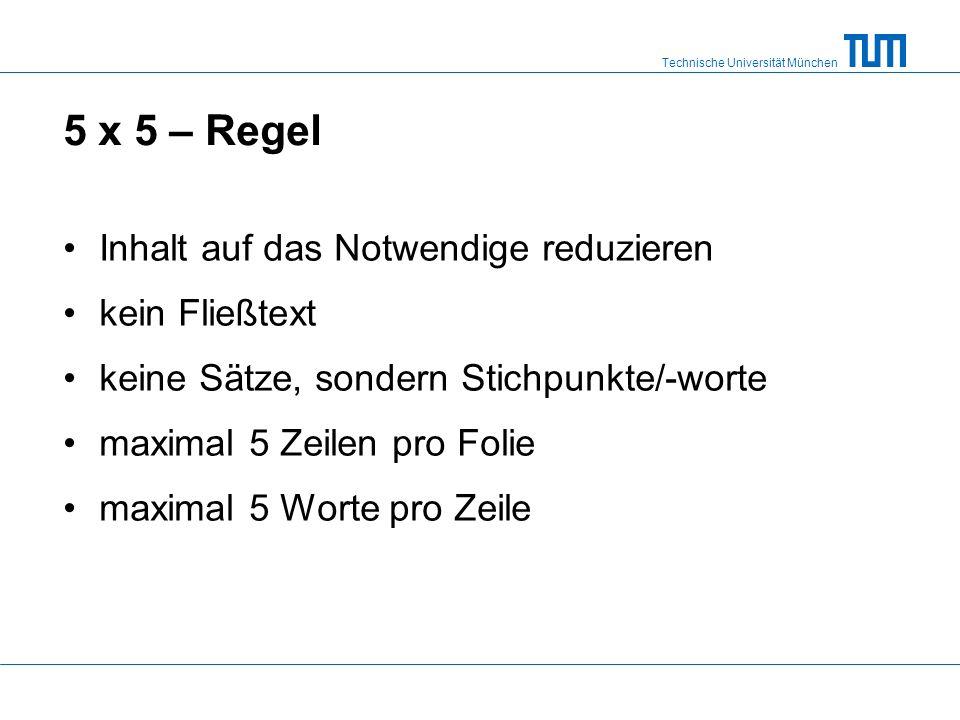 5 x 5 – Regel Inhalt auf das Notwendige reduzieren kein Fließtext