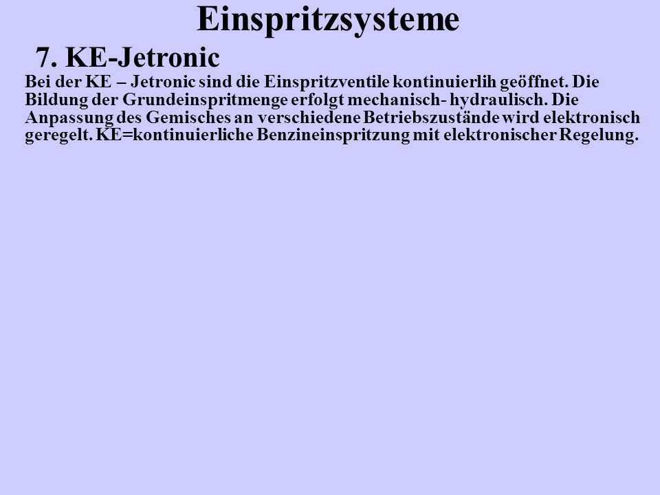 Einspritzsysteme 7. KE-Jetronic