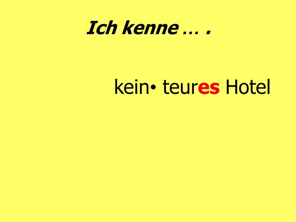 Ich kenne … . kein• teures Hotel