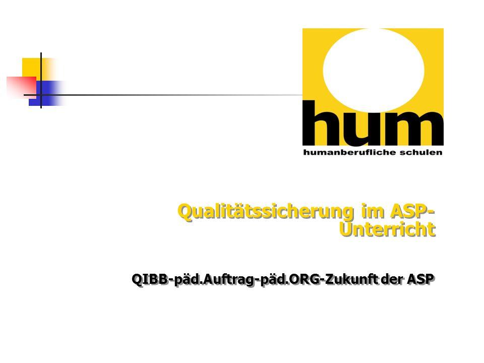 Qualitätssicherung im ASP-Unterricht