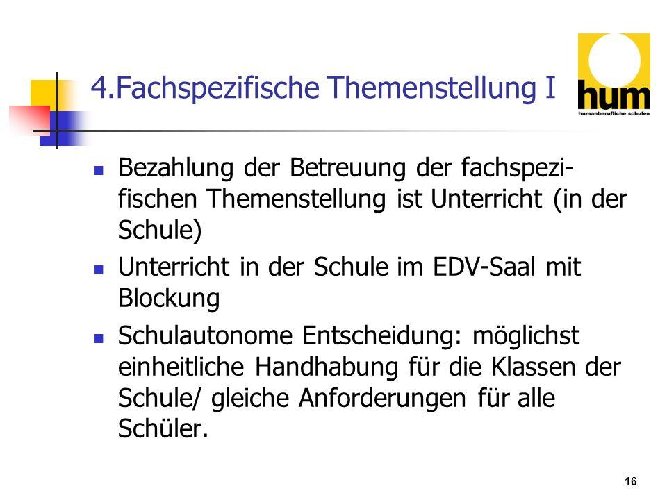 4.Fachspezifische Themenstellung I