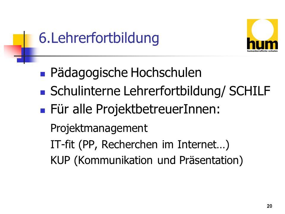 6.Lehrerfortbildung Pädagogische Hochschulen