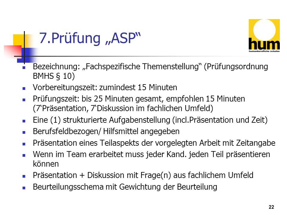 """7.Prüfung """"ASP Bezeichnung: """"Fachspezifische Themenstellung (Prüfungsordnung BMHS § 10) Vorbereitungszeit: zumindest 15 Minuten."""