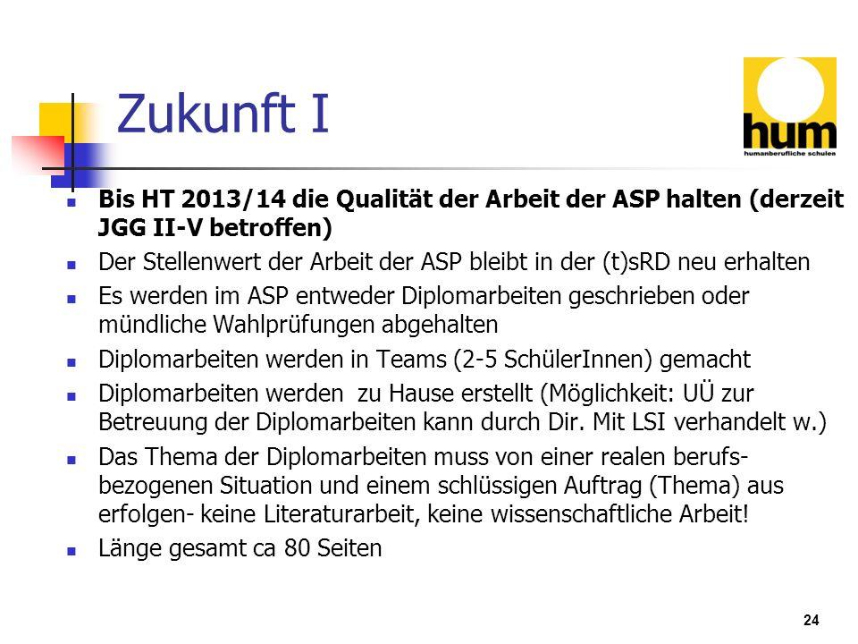 Zukunft I Bis HT 2013/14 die Qualität der Arbeit der ASP halten (derzeit JGG II-V betroffen)