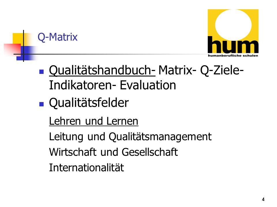 Qualitätshandbuch- Matrix- Q-Ziele- Indikatoren- Evaluation