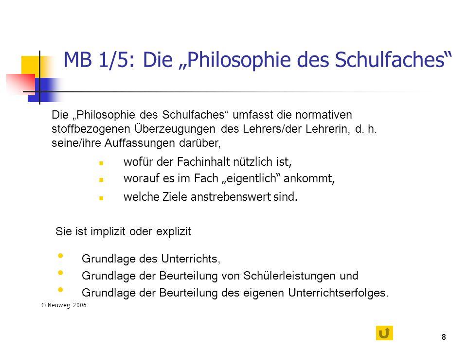 """MB 1/5: Die """"Philosophie des Schulfaches"""