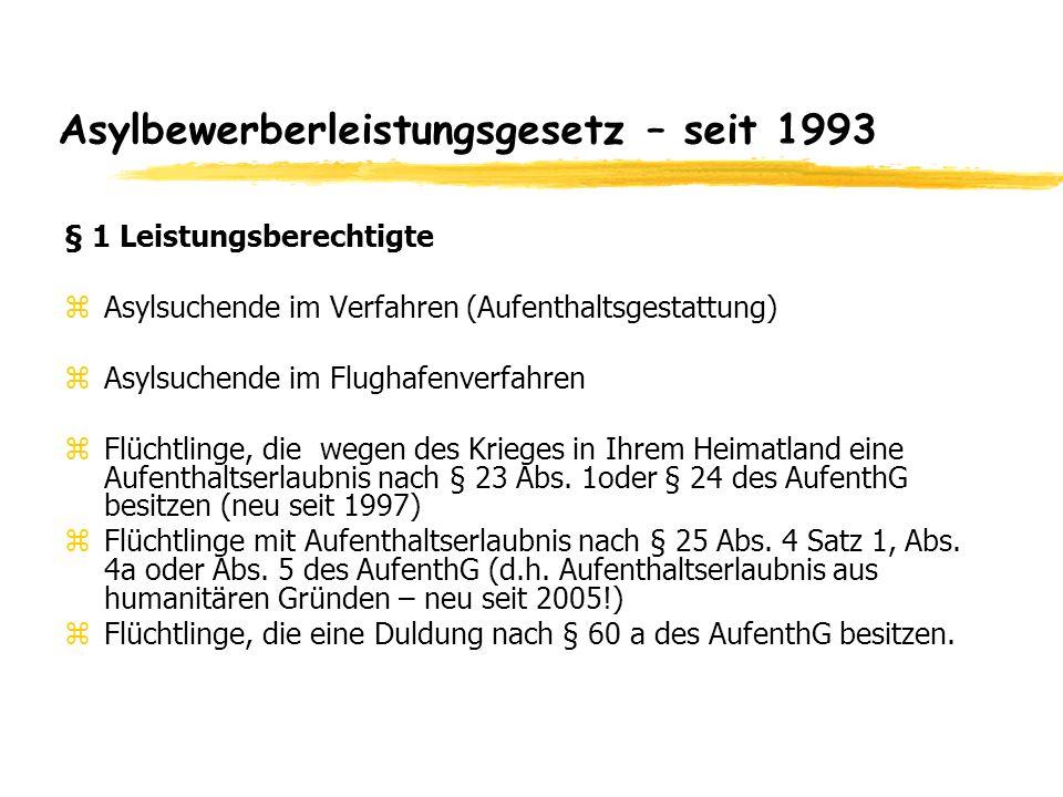 Asylbewerberleistungsgesetz – seit 1993