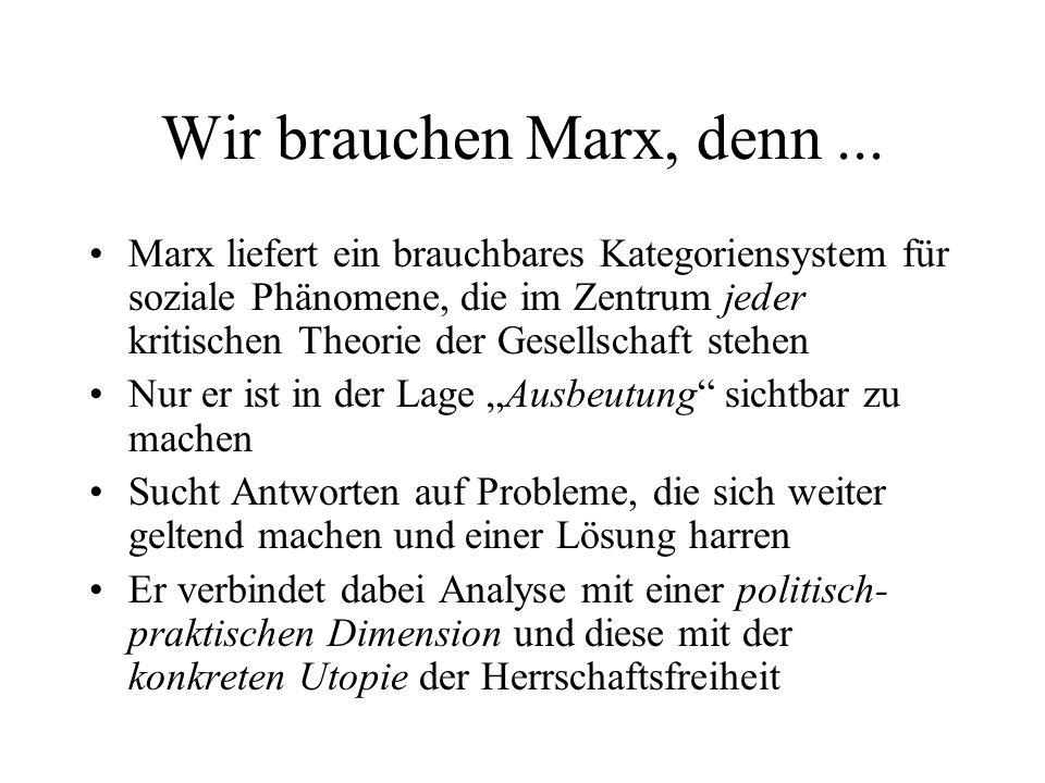 Wir brauchen Marx, denn ...