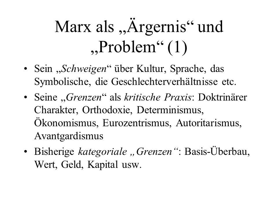"""Marx als """"Ärgernis und """"Problem (1)"""