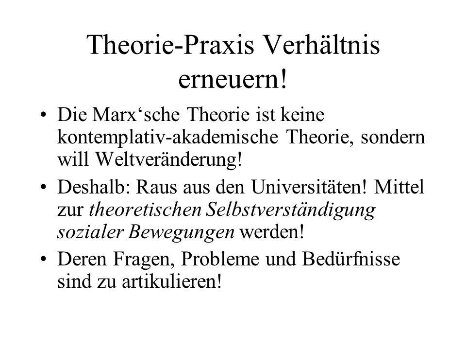Theorie-Praxis Verhältnis erneuern!