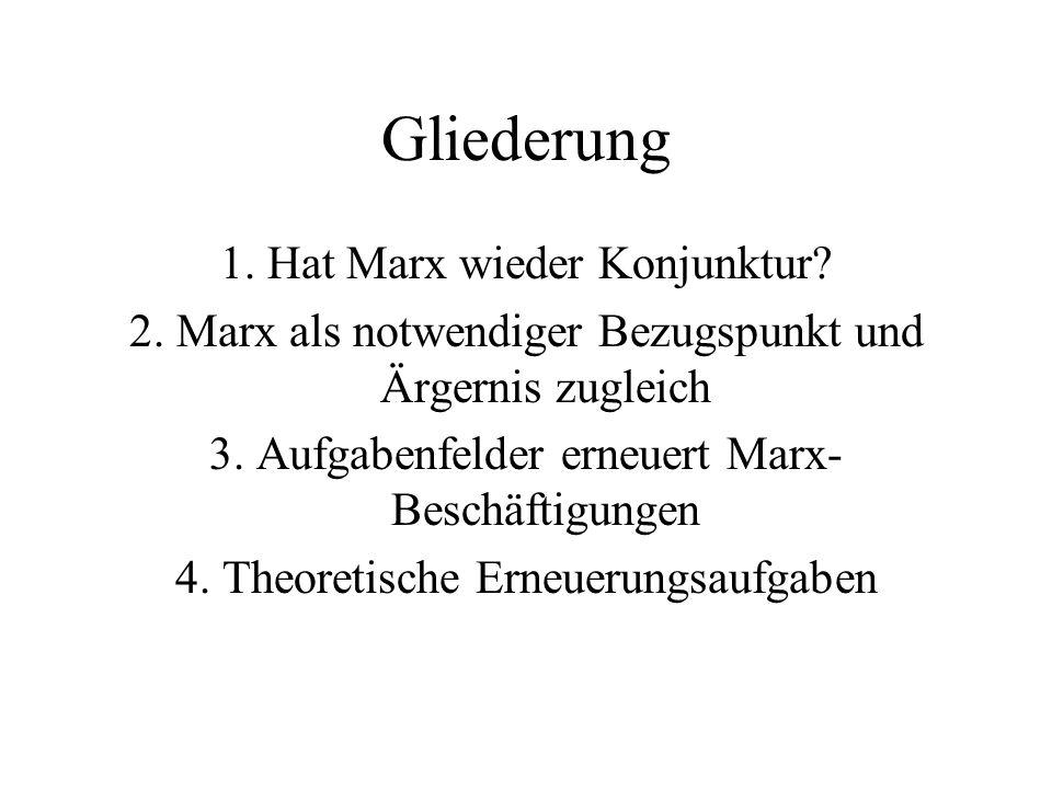 Gliederung 1. Hat Marx wieder Konjunktur