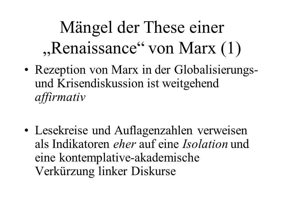 """Mängel der These einer """"Renaissance von Marx (1)"""