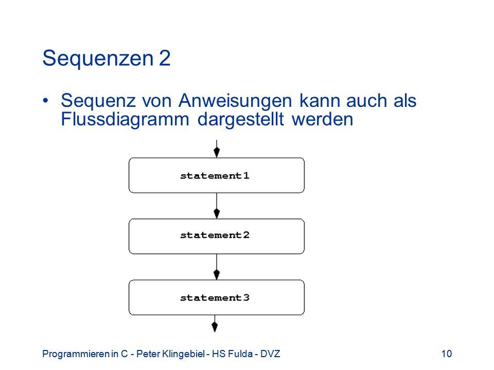 Sequenzen 2 Sequenz von Anweisungen kann auch als Flussdiagramm dargestellt werden. Programmieren in C - Peter Klingebiel - HS Fulda - DVZ.
